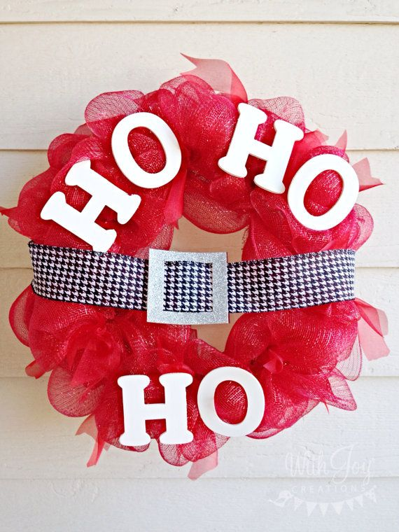 Red Santa Mesh Wreath by Withjoycreations on Etsy, $55.00