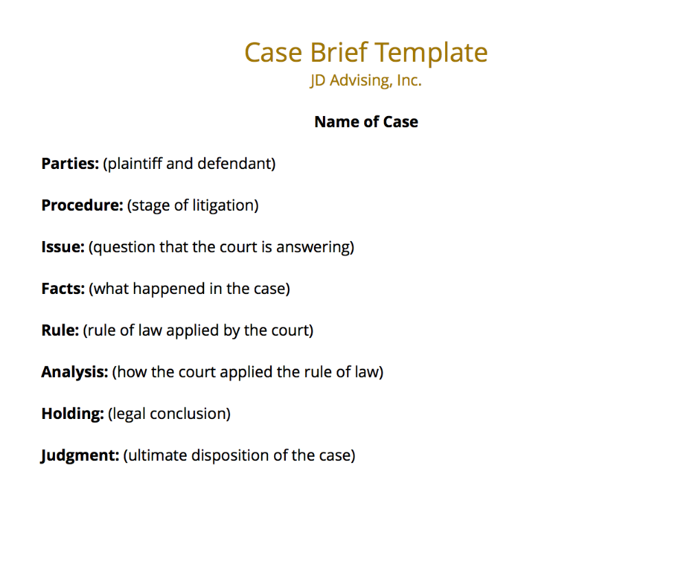 What Is An Example Of A Law School Case Brief Template Jd Advising Law School Law School Life Law Notes