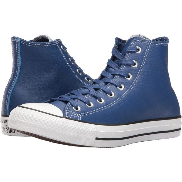 fbc02f55fd35 Converse Chuck Taylor All Star Leather Hi (Roadtrip Blue Casino White)...  ( 36) ❤ liked on Polyvore featuring shoes