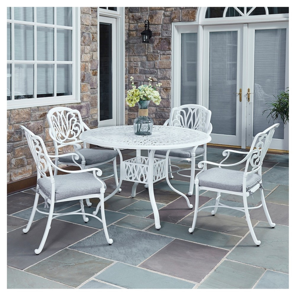 Home Styles 5552-328C Biscayne 5-Piece Dining Set with 4 Cushioned Arm Chairs White Finish 48-Inch