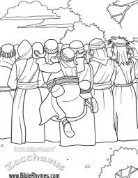this picture of zacchaeus jumping to see from the biblerhymes zacchaeus bible story coloring book is in black and white for people to print and color - Jesus Zacchaeus Coloring Page