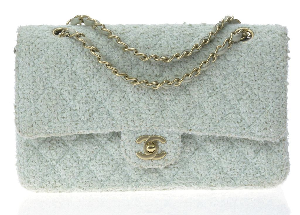 620092fa9527be Chanel Mint Green Tweed Double Flap Bag | Designer Vault | Bag Love ...