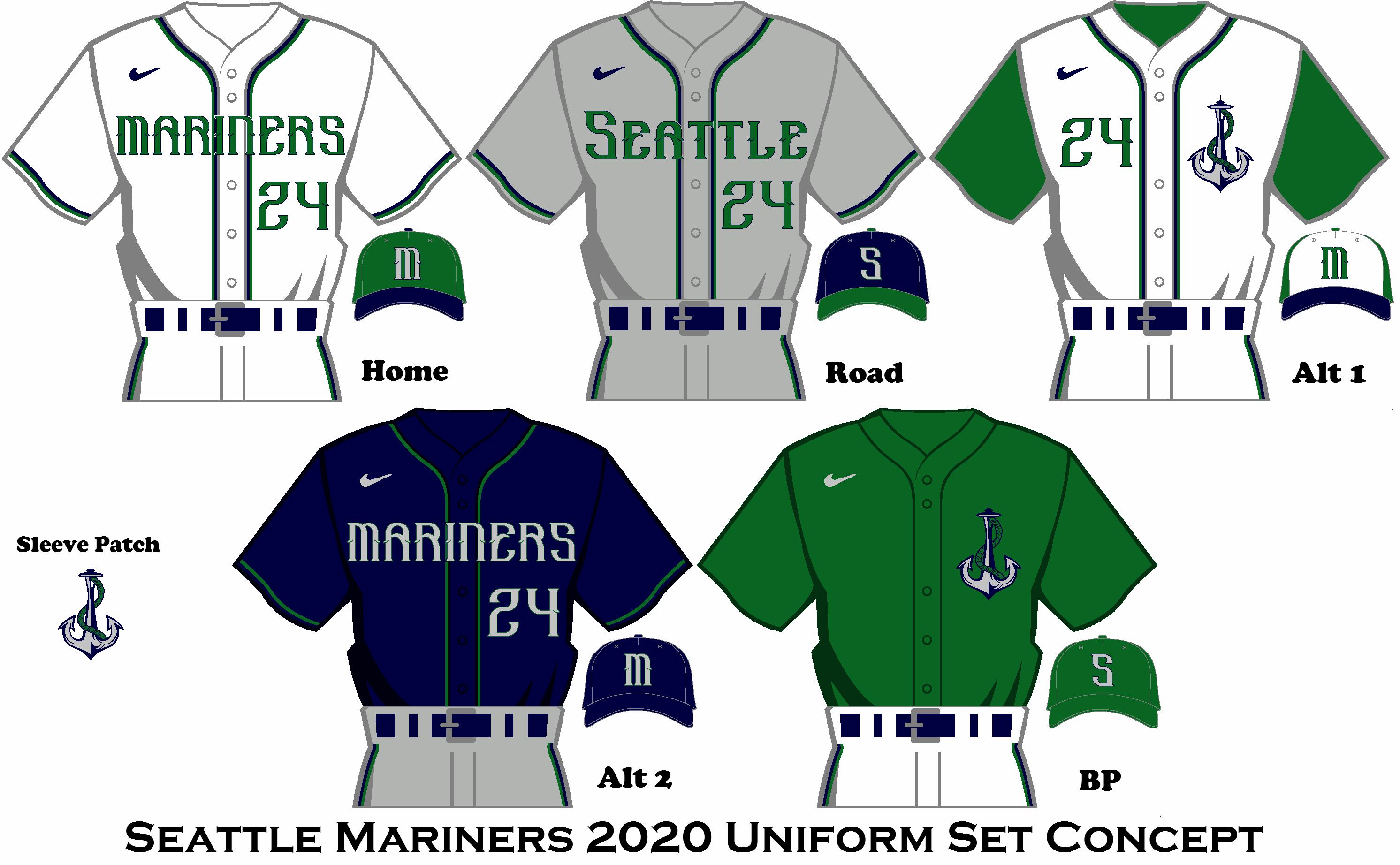 2020 Nike Rebrand Seattle Mariners Uniform Set Seattle Mariners Mariners Royals Mlb