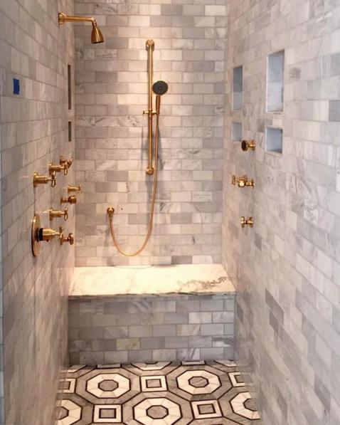 Happy Wzwednesday Design Friends We Love The Choice Of Metalandmetallic Brass Fixtures And Walker Luxury Bathroom Walker Zanger Tile Round Mirror Bathroom
