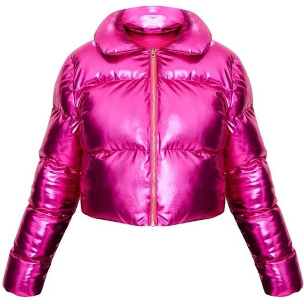 7402d01e1d19 Hot Pink Metallic Cropped Puffer Jacket ($60) ❤ liked on Polyvore featuring  outerwear, jackets, puffy jacket, pink puffer jacket, hot pink jacket,  puffer ...