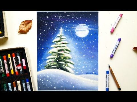 Christmas tree in the snow drawing with soft pastels | Leontine van vliet - YouTube | Soft ...
