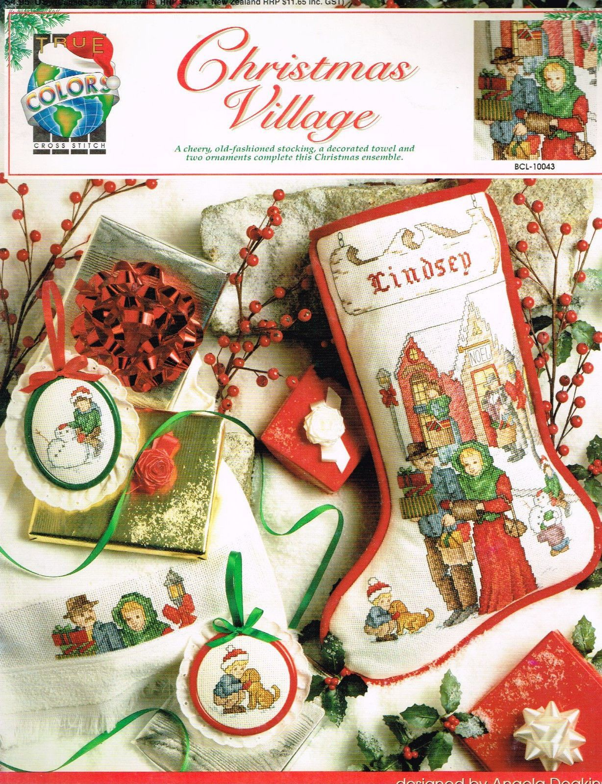 "10043 Cross Stitch Pattern ""Christmas Village"" Stocking"