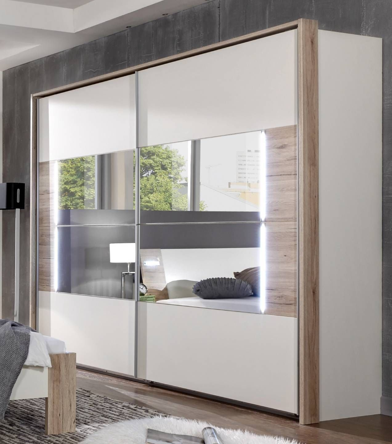German Downtown White Oak 270cm Sliding Door Mirrored Wardrobe