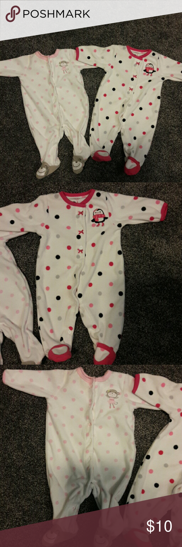 SET OF 2 CARTER'S SLEEPERS Like new. No stains. Adorable feet socks. Pink w/polka dots. Carter's One Pieces Footies