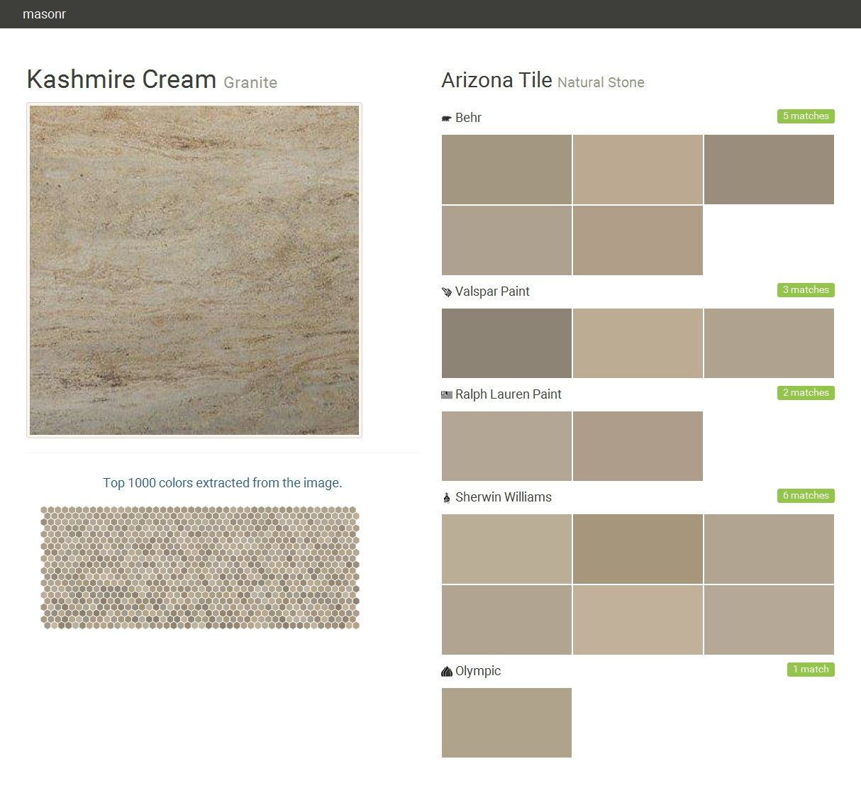 Kashmire Cream. Granite. Natural Stone. Arizona Tile. Behr. Valspar Paint.