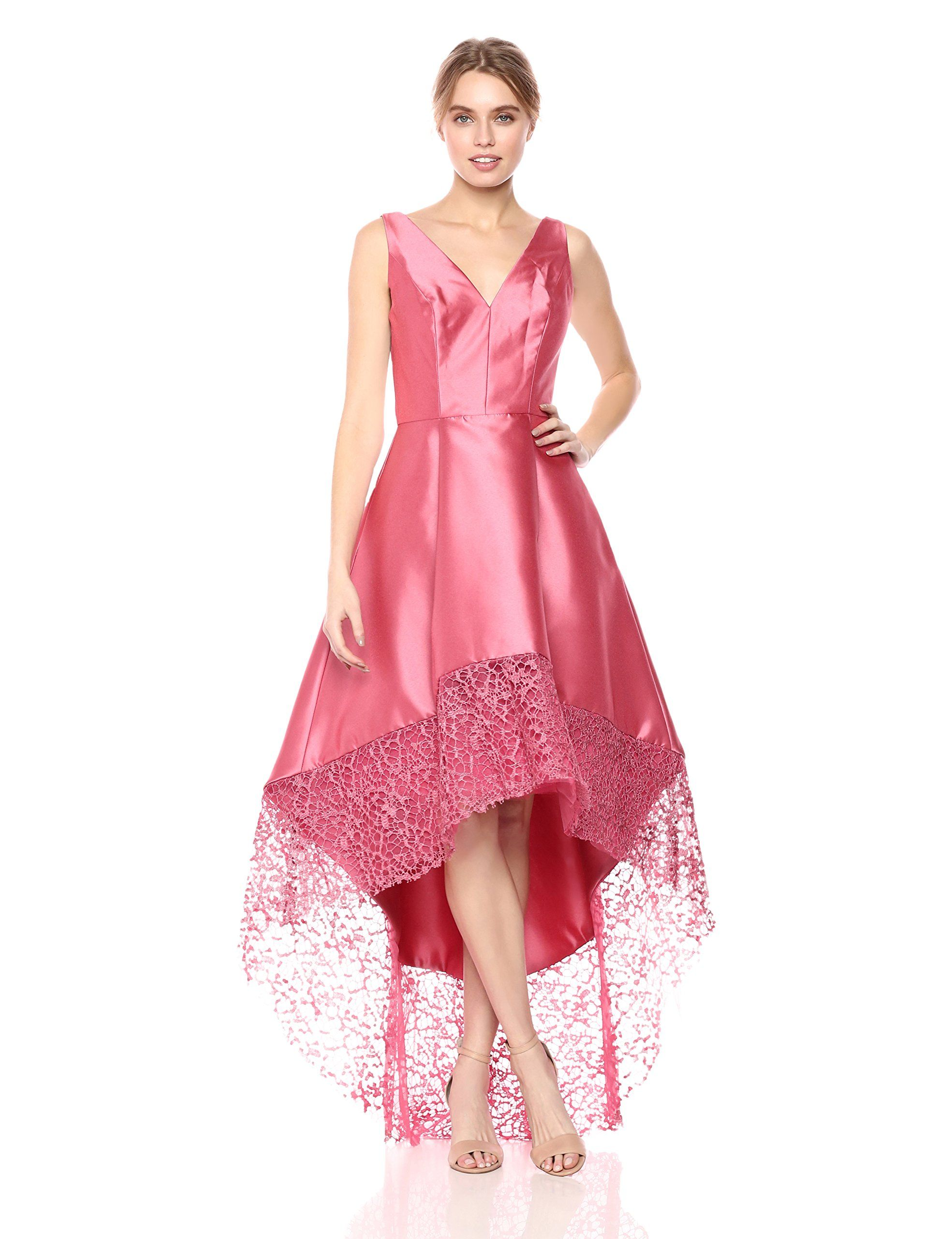 ML Monique Lhuillier Womens HighLow Gown With Lace Trim Detail Dusty Rose 0    Click image for more details-affiliate link.  WomenDresses a3f2bdba0