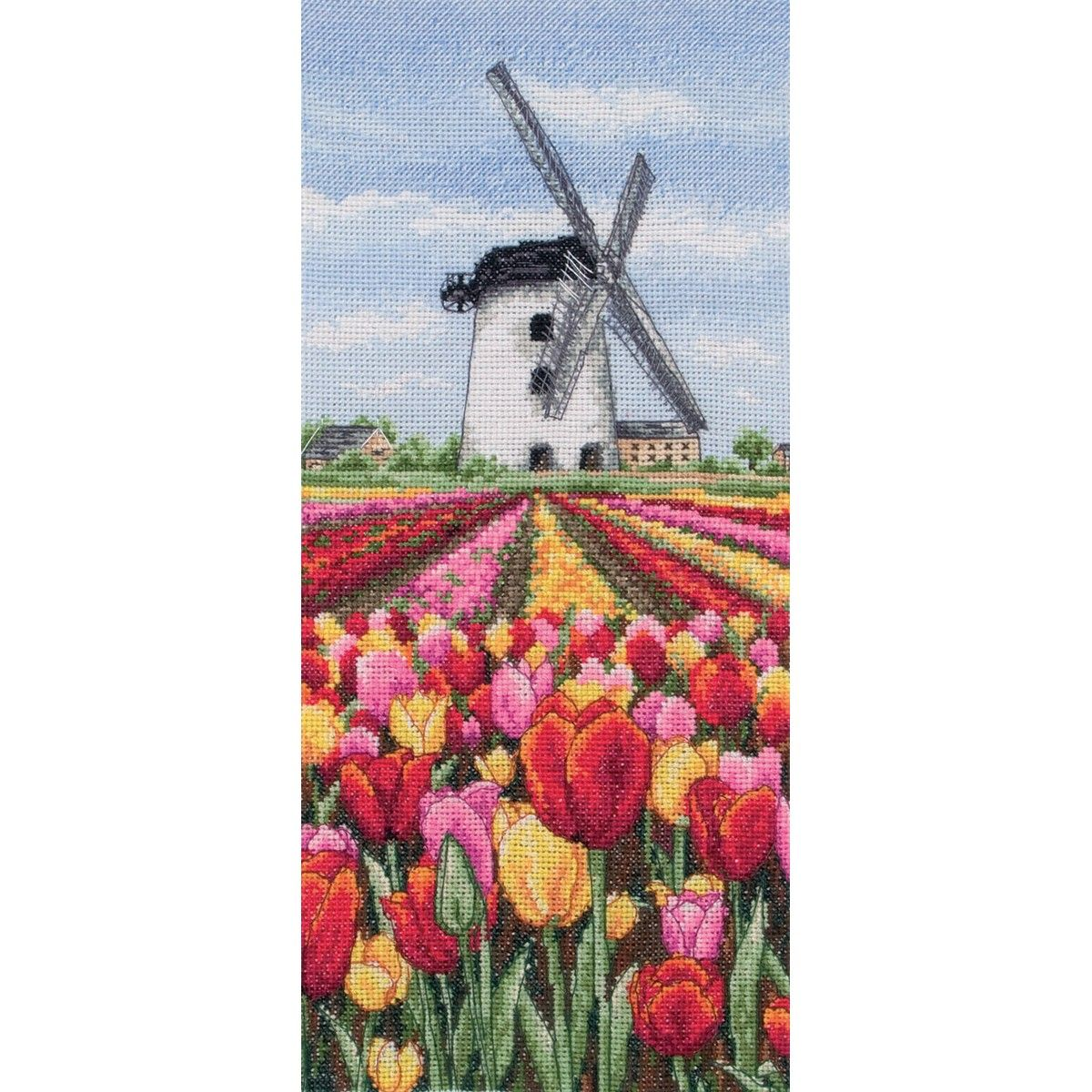 """12-1/2""""X5-1/2"""" 16 Count Dutch Tulips Landscape Counted Cross Stitch Kit PCE0806"""