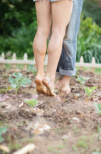 bare feet farm mud