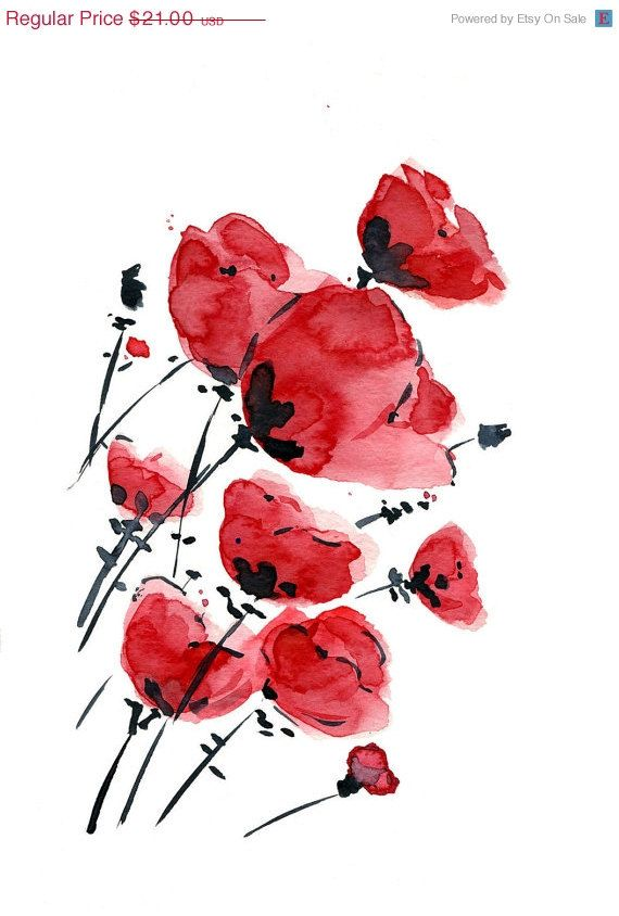 An Print Of My Original Modern Watercolor Painting Of Poppies