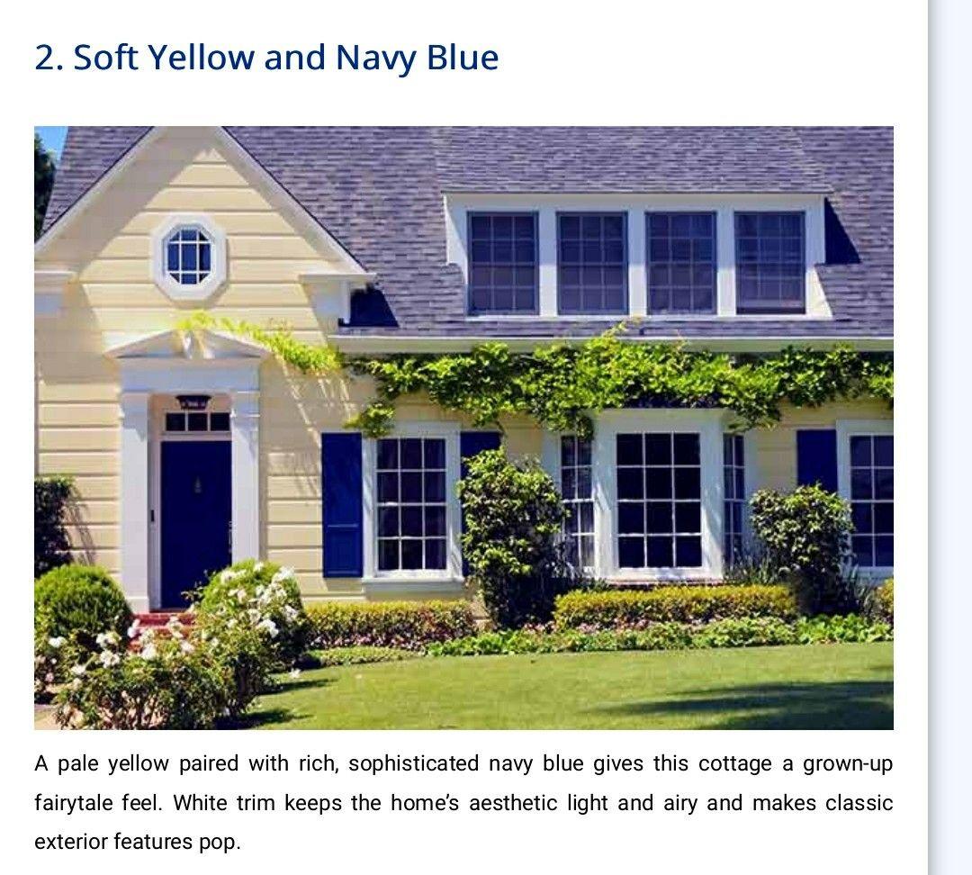 Yellow Siding Blue Shutters Future House Exterior Colors Yellow House Exterior House Exterior Blue House Shutters