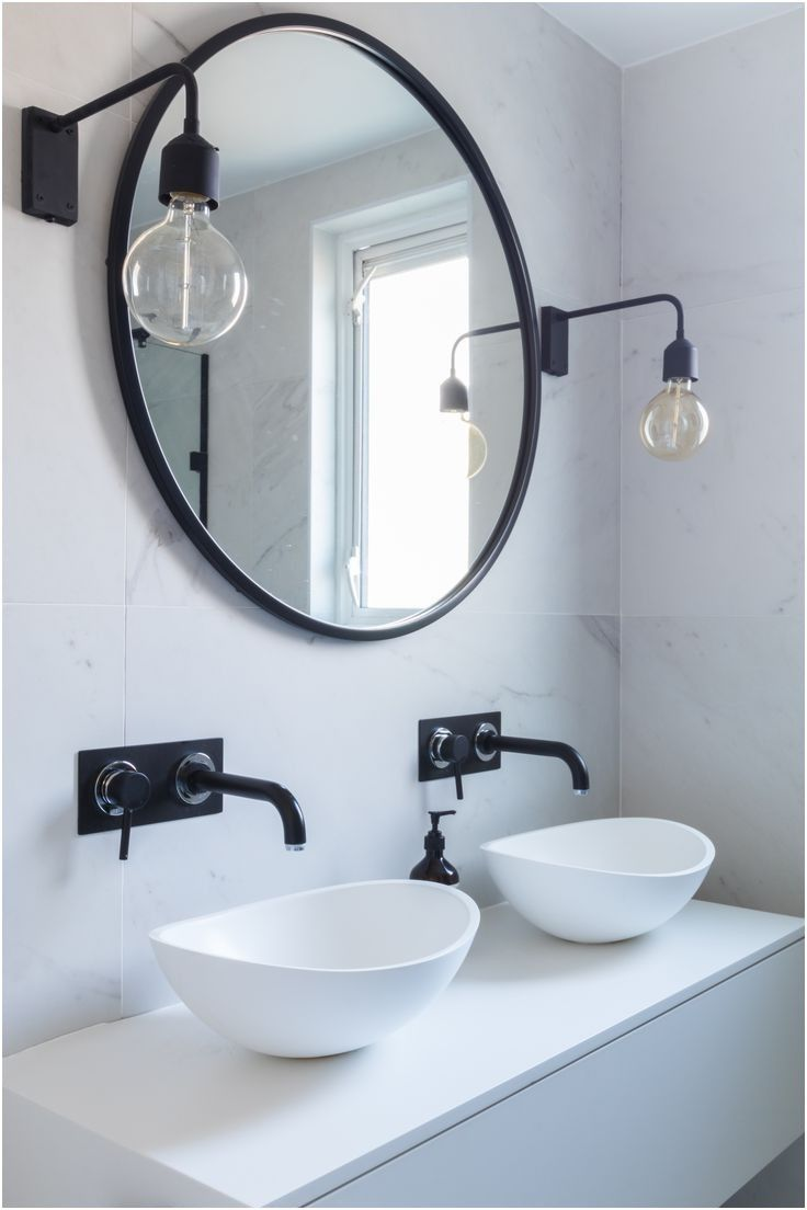 The 25 Best Round Bathroom Mirror Ideas On Pinterest Minimal From Round Bathroom Cab Round Mirror Bathroom Bathroom Mirror Frame Modern Bathroom Light Fixtures