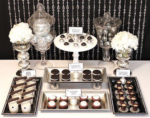 Black White Glamorous Sweets Table White Dessert Tables Christmas Dessert Table White Desserts