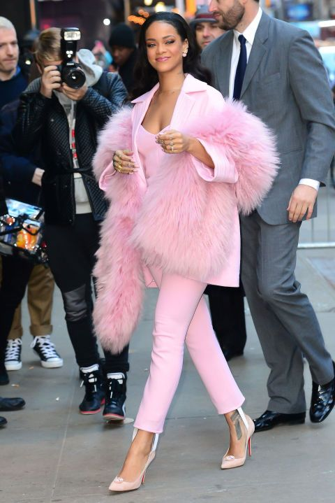 Rihanna arrives at Good Morning America at the ABC Times Square Studios in New York City on March 13, 2015.