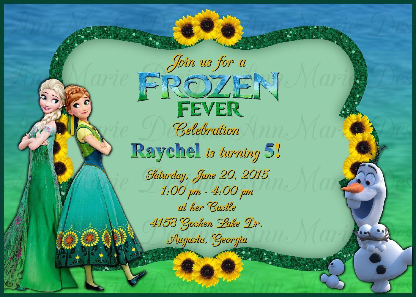 Frozen Fever Inspired Birthday Invitation, Frozen 2 Party Invite ...