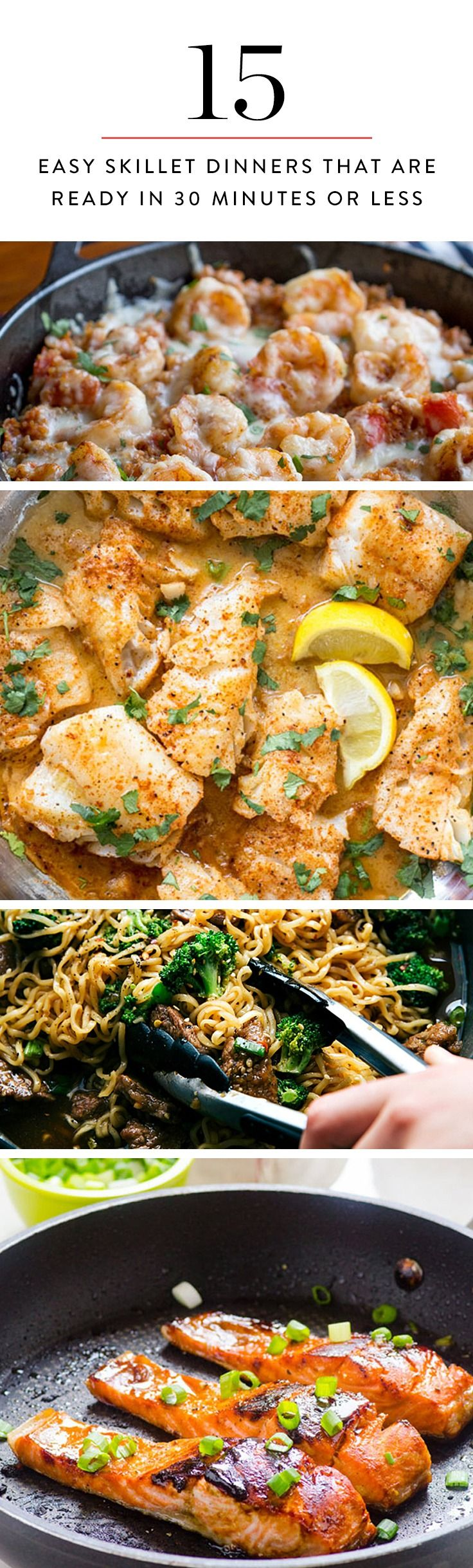 15 Easy Skillet Dinners That Are Ready in 30 Minutes or Less #skilletrecipes