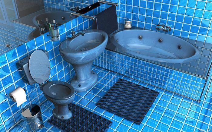 Piastrelle bagno colore blu arredamento vasca accessori essenziali