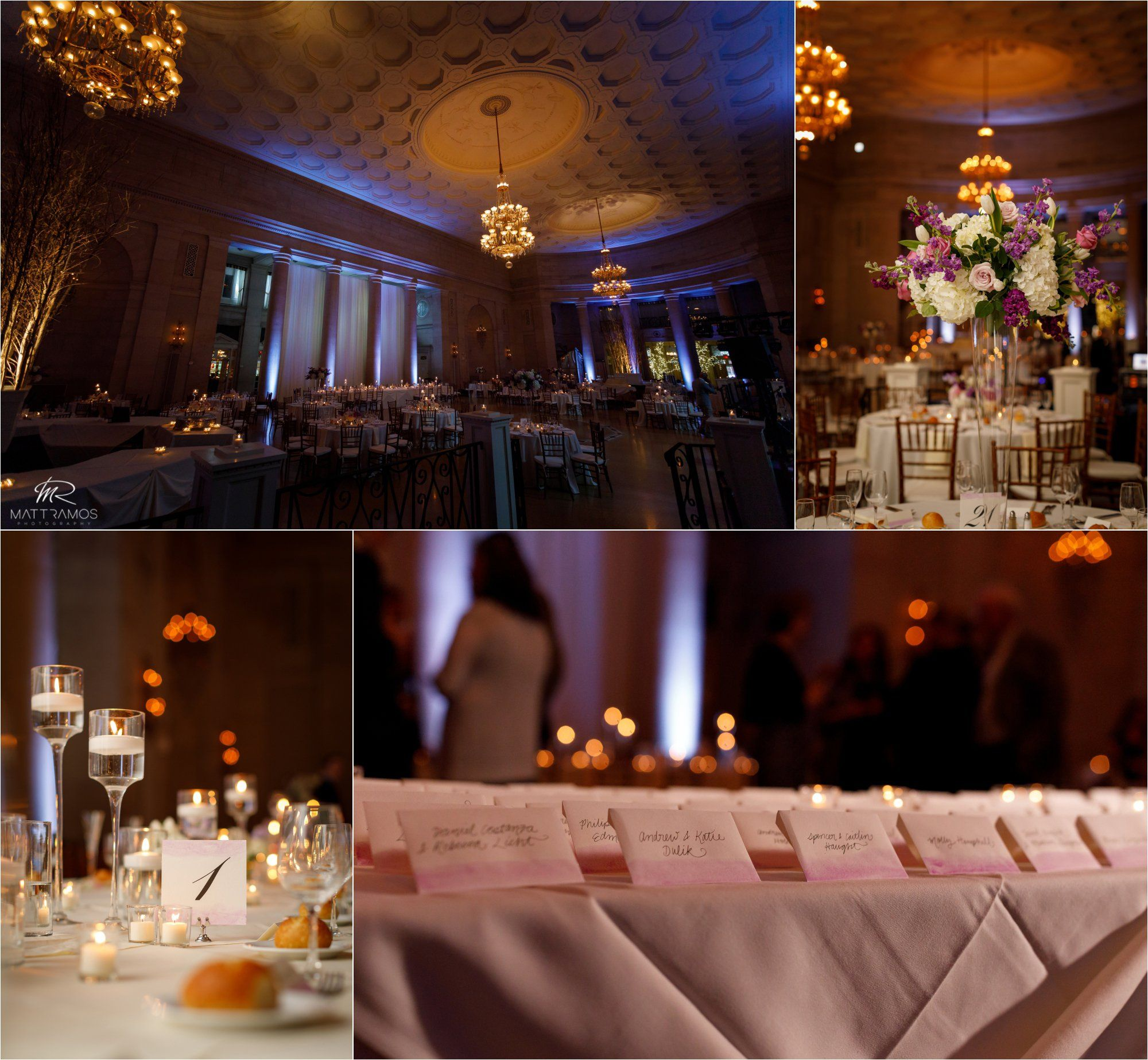 Hall Of Springs Wedding Venue In Upstate New York Decor Inspiration Blush Pink And Blue Uplighting