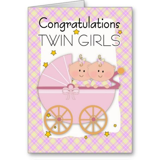 twins  congratulations twin girls in a pram card  event  new, Baby shower invitation
