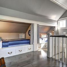 Attic Boys Room With Built In Beds