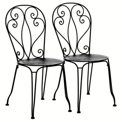 Chaise fer forg lot de 2 mireille table jardin metal - Chaise en fer forge pour jardin ...