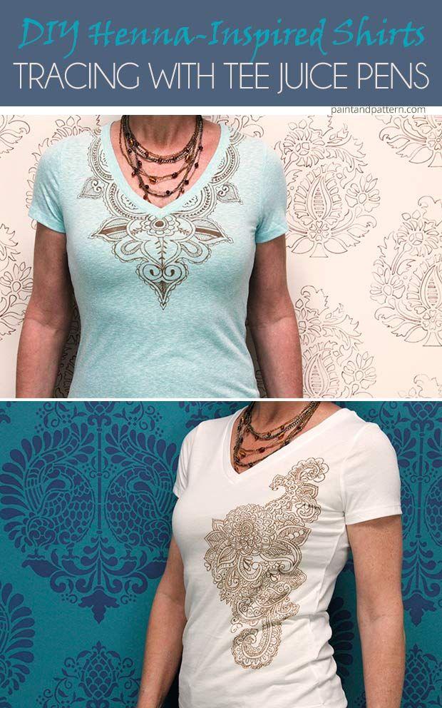 diy henna inspired tee shirts using tee juice pens fabric stencils