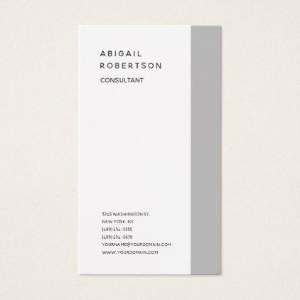 Vertical Minimalist Plain Modern Grey White Trendy Business Card
