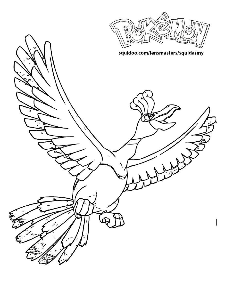 Pokemon Phoenix Coloring Pages