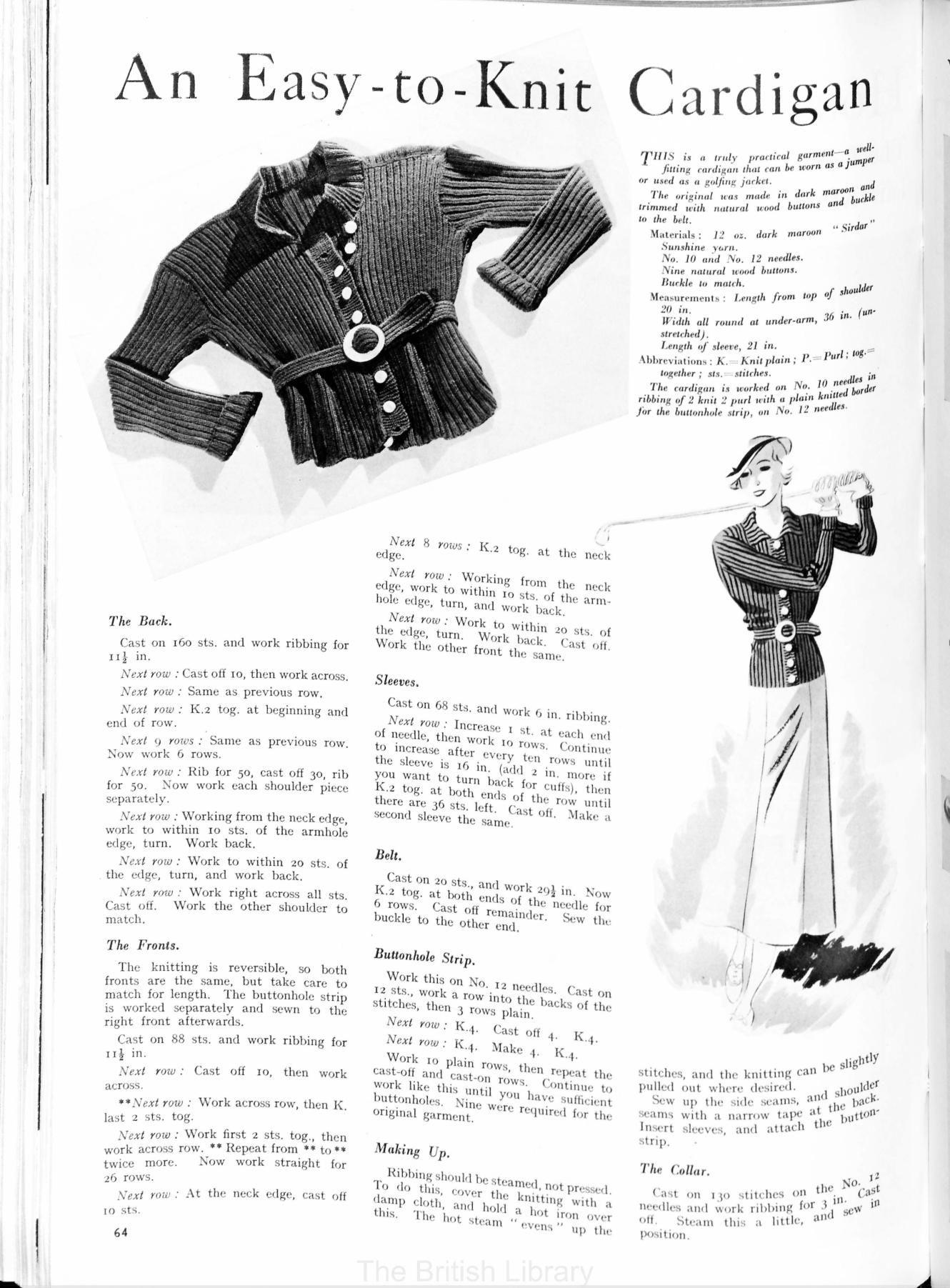 golfing jacket 30\'s Britania and Eve Knitting Pattern | Knitting ...
