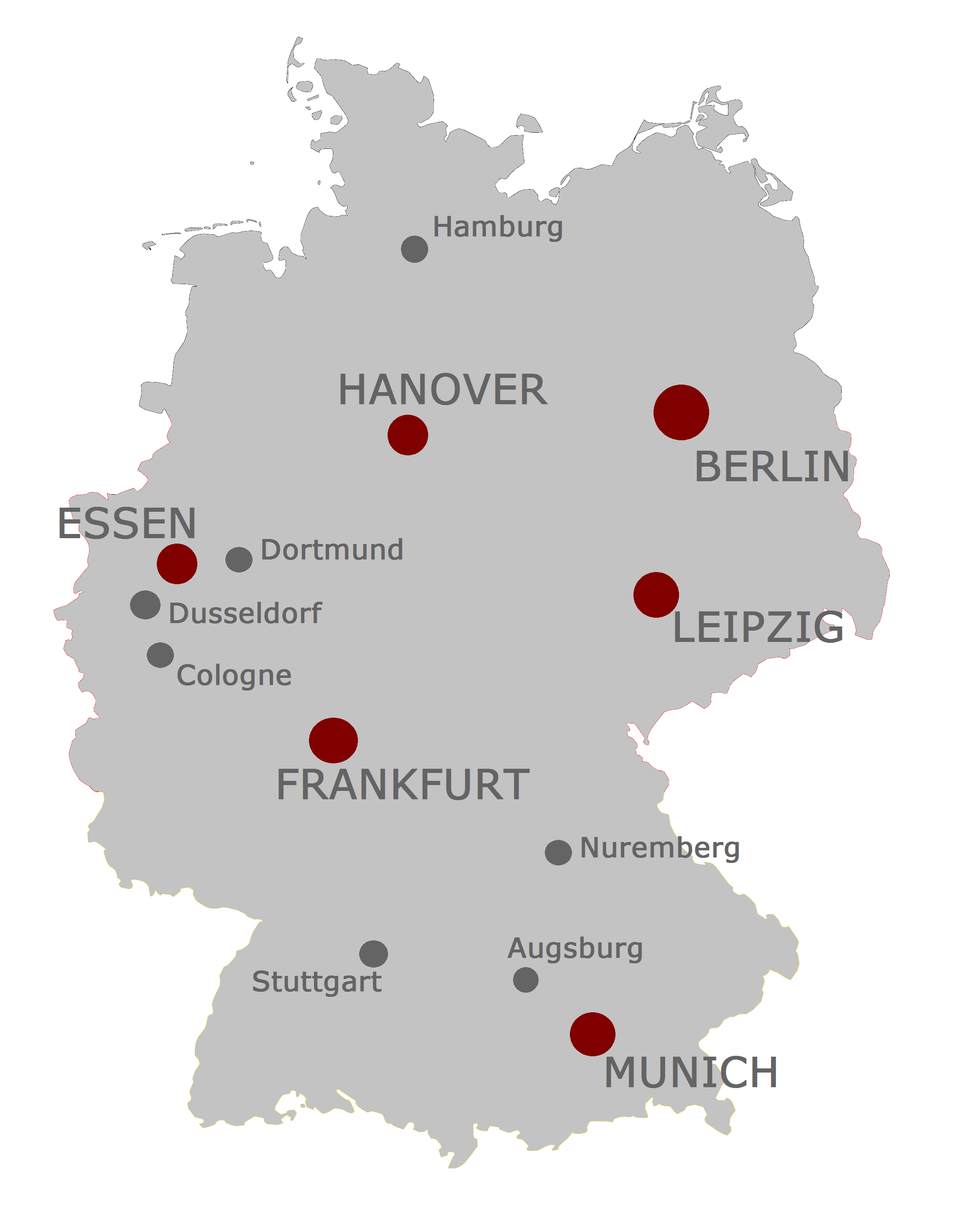 Map of Germany with Cities | Major cities in Germany hosting