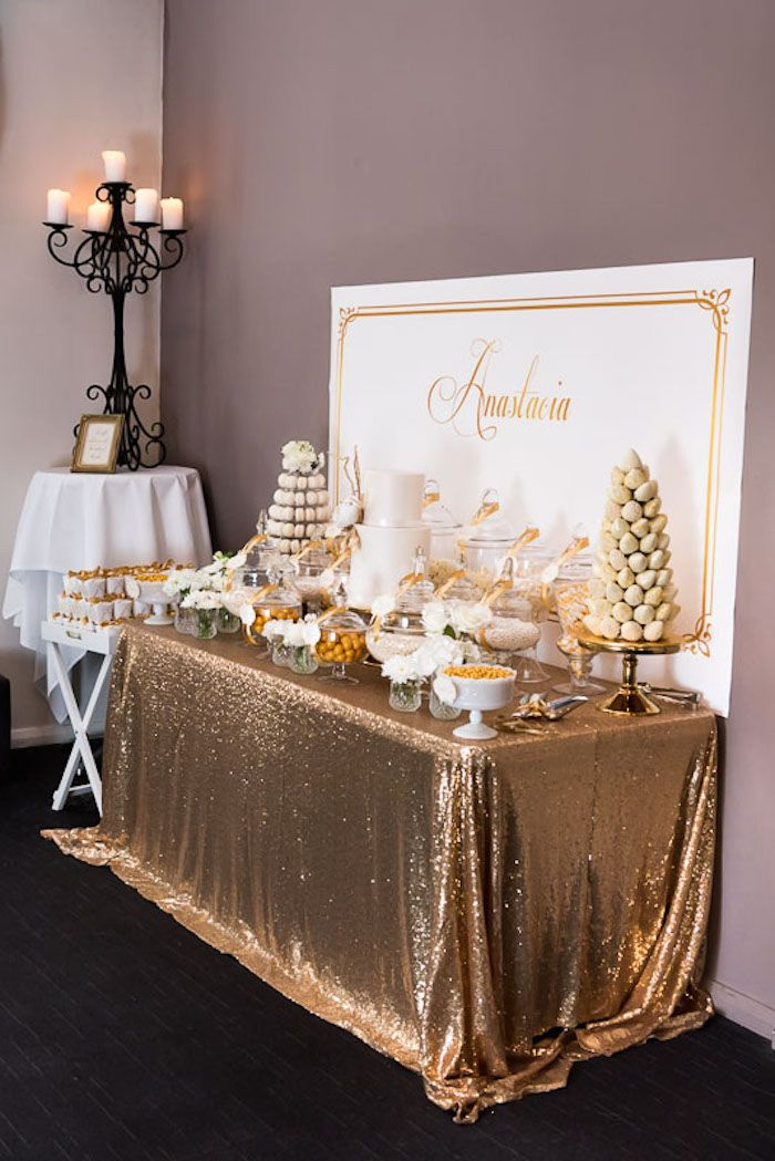 Elegant Gold White Baptism Party Via Karas Ideas KarasPartyIdeas Goldandwhitebaptismdesserttable 36