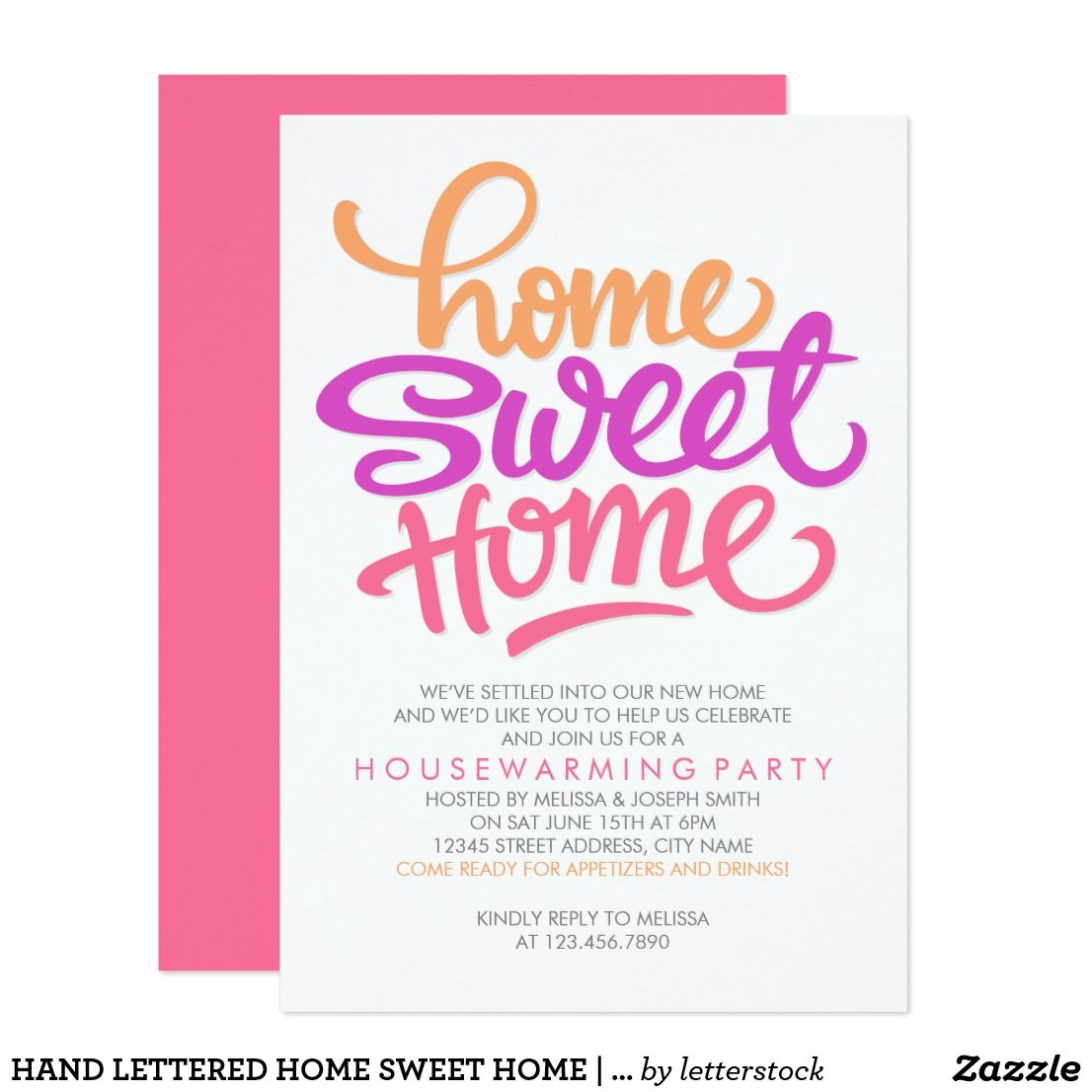 HAND LETTERED HOME SWEET HOME HOUSEWARMING PARTY CARD HAND