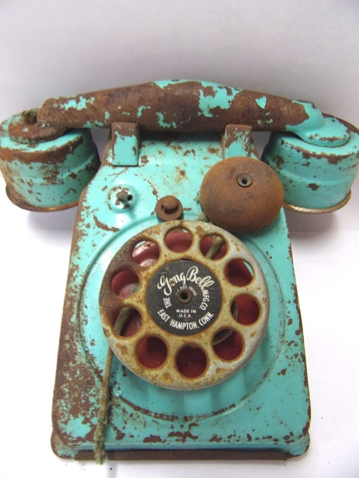 Vintage Toy Telephone The Gong Mfg pany Teal Green Phone Kids