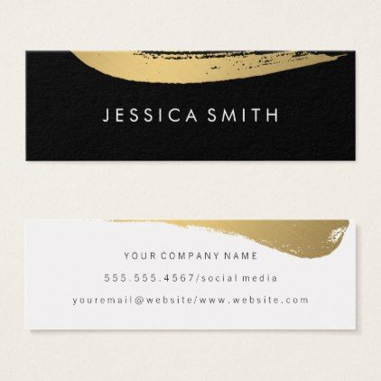 Faux Metallic Gold Brushed Black White Mini Business Card Black And White Gifts Unique Spec Stylist Business Cards Mini Business Card Business Card Black