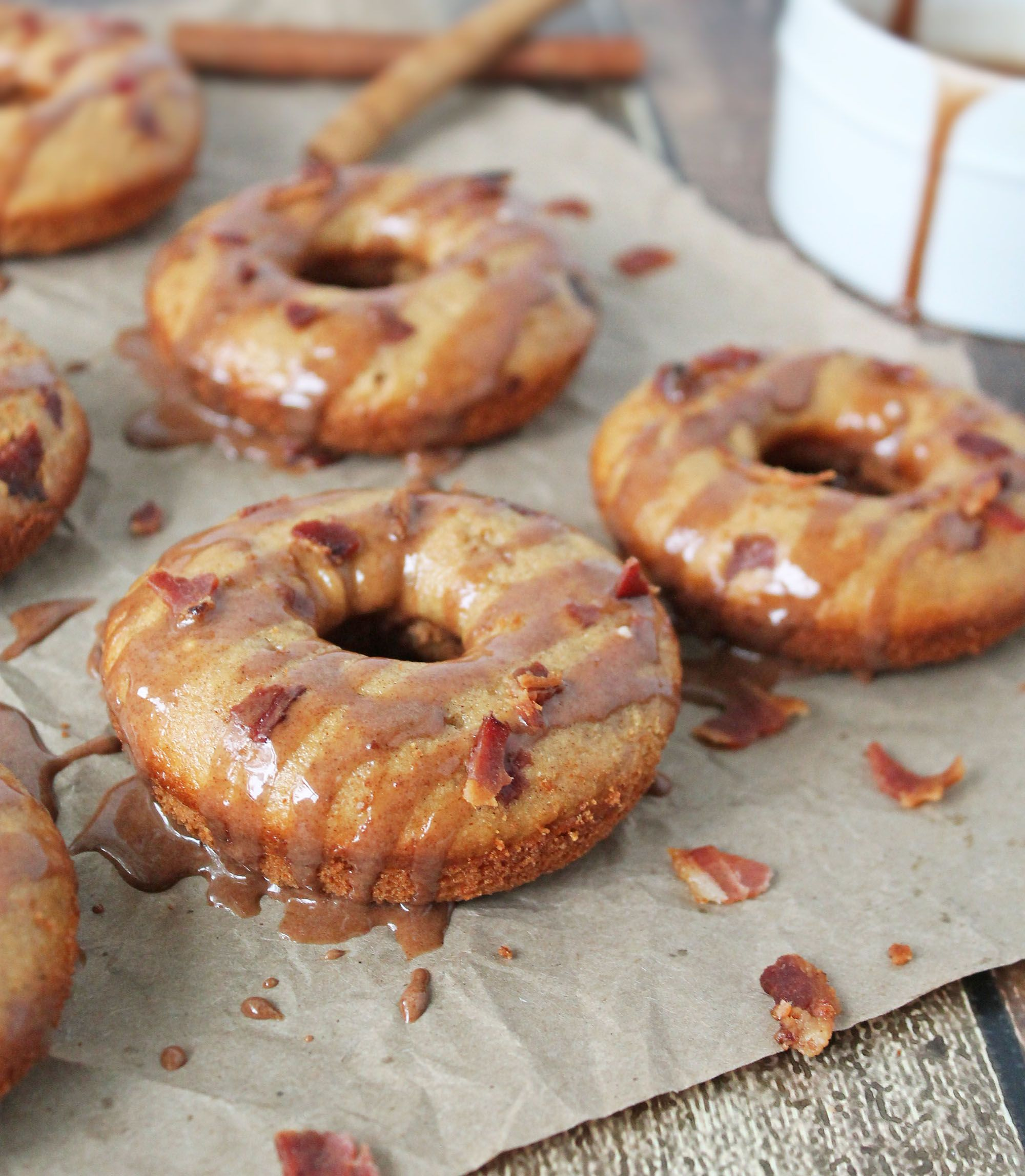 Cinnamon bacon doughnuts gluten free and baked with