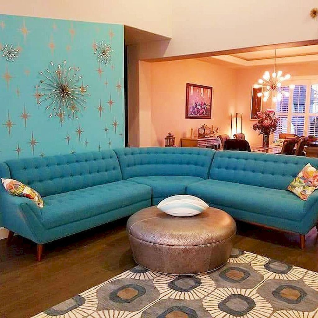65 Cool Mid Century Living Room Decor Ideas: The Curves And Bright Colors On The Furniture Are Very Mid