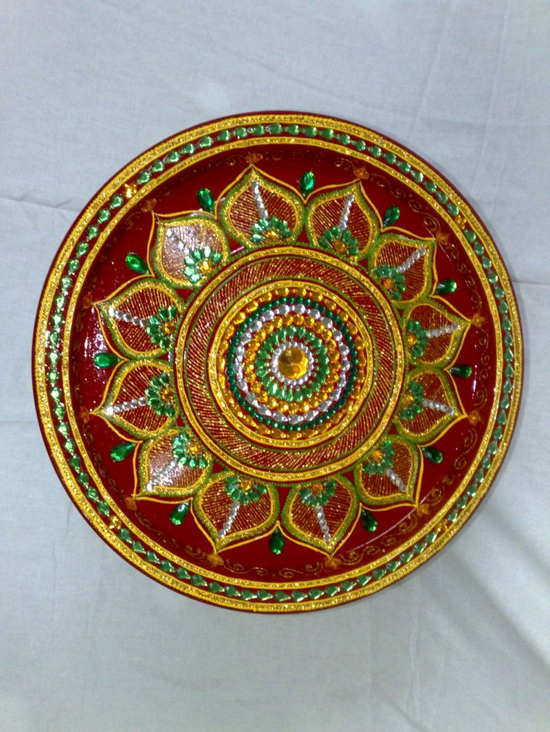 Indian art aarti thali pooja thali for Aarti plate decoration
