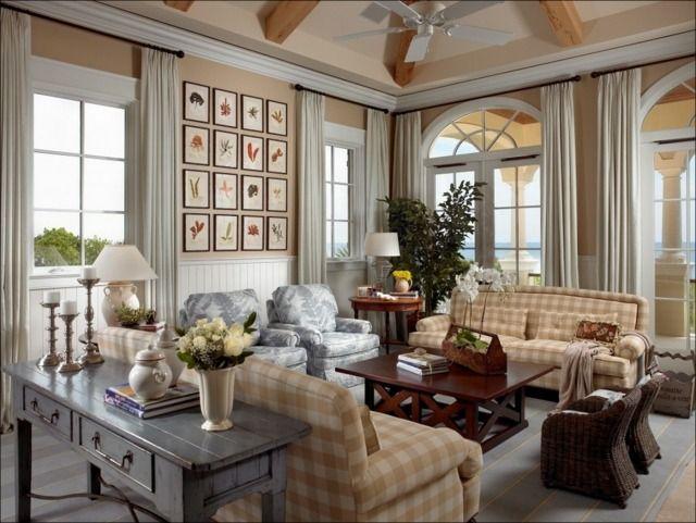 ideen wohnzimmer landhausstil karierte sofas pflanzen motive, Innenarchitektur ideen