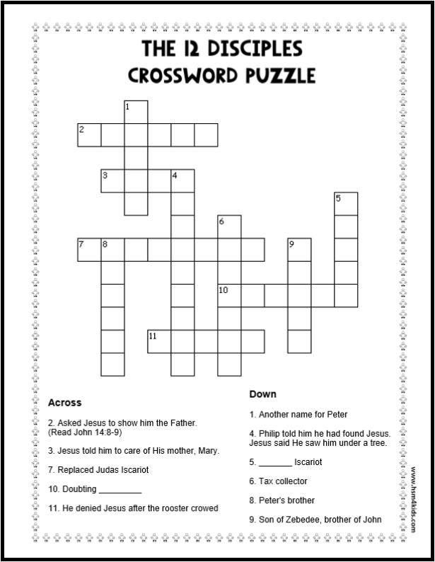 The 12 Disciples Crossword Puzzle Free
