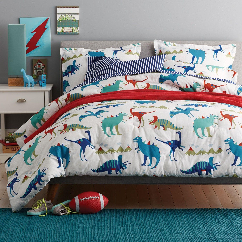 Kids comforter with a ferociously fun dinosaur theme