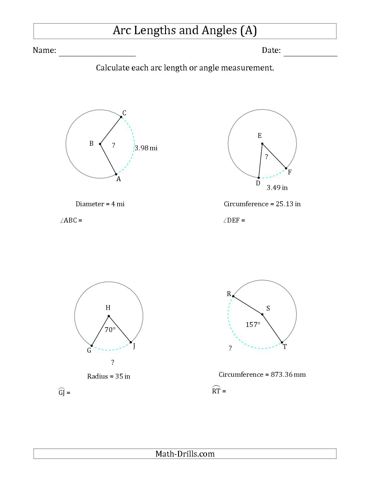 The Calculating Arc Length Or Angle From Circumference Radius Or Diameter A Math Worksheet
