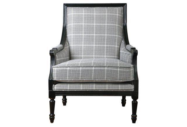 Best Aurelia Armchair Smoke White Plaid Plaid Chair Black 400 x 300