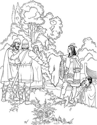 Indians Are Offering Gifts To Vikings coloring page | indian color ...