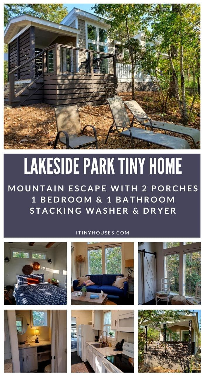 Escape to the mountains in The Collins comfortable tiny home oasis. This is a gorgeous home in a park surrounded by mountains, with two large porches for relaxation! #TinyHouse #TinyHouseLiving #TinyHome #TinyHousePark #MountainLife #TinyHouseLife #CustomTinyHome #TinyHomeSales