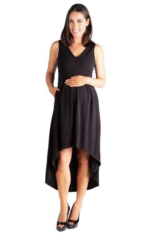 ce5a7a7a196 24seven Comfort Apparel Modern Classic High Low Maternity Little Black Dress  with Pocket-Dresses-24Seven Comfort Apparel-BLACK-S-24 7 Comfort Apparel