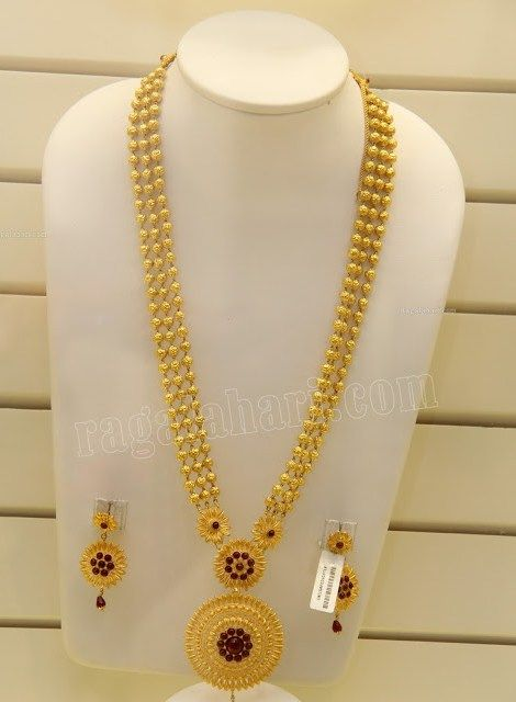 Beaded Gold Long Chain Jewellery Designs Jewels